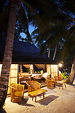 FRENCH POLYNESIA, Vahine Island. Dining room and dining tables on Vahine Private Island Resort.