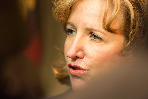 "April 16, 2014. Durham, North Carolina.<br />  Senator Kay Hagan spoke with the press after an event to award a posthumous Bronze Star. Hagan has been largely absent from the campaign trail even as several Republican challengers have mounted campaigns to defeat her in this year's election.<br />  Kay Hagan (D),  US Senator from North Carolina, attended an event to honor the military service of Donald ""Buddy"" Moore, Hagan awarded Moore's widow Wanda a posthumous Bronze Star, as well as several other medals, for his service in World War II."