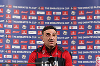 Manager Carlos Carvalhal speaks to members of the press during the Swansea City Training and Press Conference at The Fairwood Training Ground, Swansea, Wales, UK. Thursday 15 February 2018