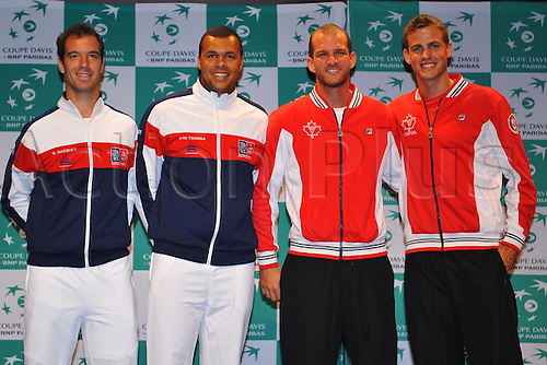 04.03.2016. Vélodrome Amédée Detraux, Guadeloupe, France. Davis Cup 1st round. France versus Canada.  Richard Gasquet, Jo Wilfried Tsonga (Fra)  with Philip Bester Vasek Pospisil (CAN)