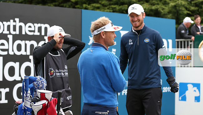 Soren Kjeldsen (DEN) and Chris Wood (ENG) share a story on the first tee during Round Three of the 2015 Dubai Duty Free Irish Open Hosted by The Rory Foundation at Royal County Down Golf Club, Newcastle County Down, Northern Ireland. 30/05/2015. Picture David Lloyd | www.golffile.ie