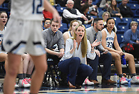 Har-Ber head coach Kimberly Jenkins reacts, Friday, February 7, 2020 during a basketball game at Wildcat Arena at Har-Ber High School in Springdale. Check out nwaonline.com/prepbball/ for today's photo gallery.<br /> (NWA Democrat-Gazette/Charlie Kaijo)