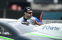 Sept. 1, 2012; Claremont, IN, USA: NHRA pro stock driver Mark Martino during qualifying for the US Nationals at Lucas Oil Raceway. Mandatory Credit: Mark J. Rebilas-