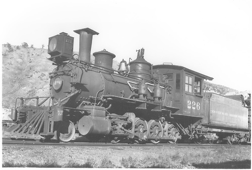 3/4 fireman's-side view of D&amp;RGW #226 in storage.  Possibly at Dolores on RGS.<br /> D&amp;RGW
