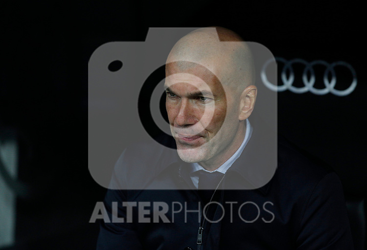 Real Madrid CF's Zinedine Zidane   during the Spanish La Liga match round 20 between Real Madrid and Granada CF at Santiago Bernabeu Stadium in Madrid, Spain