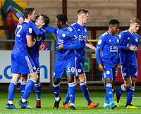 Leicester City U21s players congratulate Ryan Loft after he scored the equalising goal deep into injury time<br /> <br /> Photographer Alex Dodd/CameraSport<br /> <br /> The EFL Checkatrade Trophy - Northern Group B - Fleetwood Town v Leicester City U21 - Tuesday September 11th 2018 - Highbury Stadium - Fleetwood<br />  <br /> World Copyright &copy; 2018 CameraSport. All rights reserved. 43 Linden Ave. Countesthorpe. Leicester. England. LE8 5PG - Tel: +44 (0) 116 277 4147 - admin@camerasport.com - www.camerasport.com