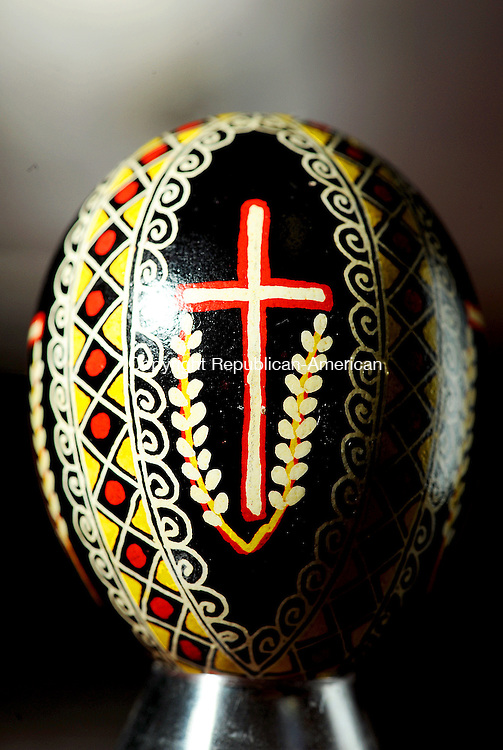 THOMASTON. CT, 31 MARCH  2012-033112JS16-A pysanka, or Ukranian Easter Egg, decorated by Thomaston artist Dennis Kowaleski. He lead a Ukranian Easter Egg decorating workshop Saturday at The Phoenix Rising Center in Thomaston. .Jim Shannon Republican-American