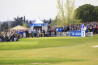 A large crowd around the 1st tee with Jon Rahm (ESP) during Round 3 of the Open de Espana 2018 at Centro Nacional de Golf on Saturday 14th April 2018.<br /> Picture:  Thos Caffrey / www.golffile.ie<br /> <br /> All photo usage must carry mandatory copyright credit (&copy; Golffile | Thos Caffrey)