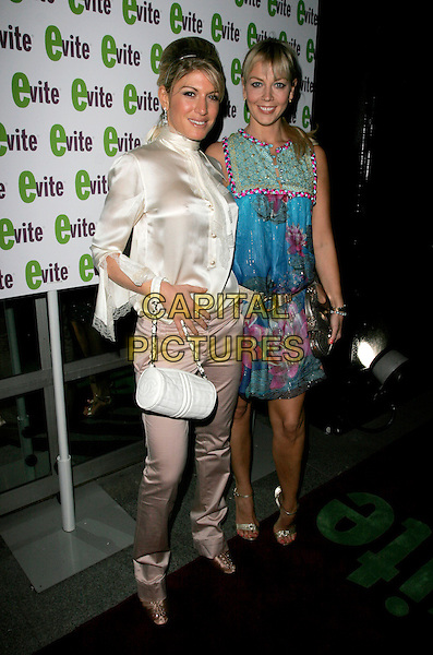 HOFIT GOLAN & LIZ FULLER.The Evite GLAMOUR:OKE Party, Embassy London, Burlington Street, London, England. .April 26th, 2007.full length satin cream white blouse tie pink beige trousers chanel bag purse blue sleeveless floral print dress gold.CAP/AH.©Adam Houghton/Capital Pictures