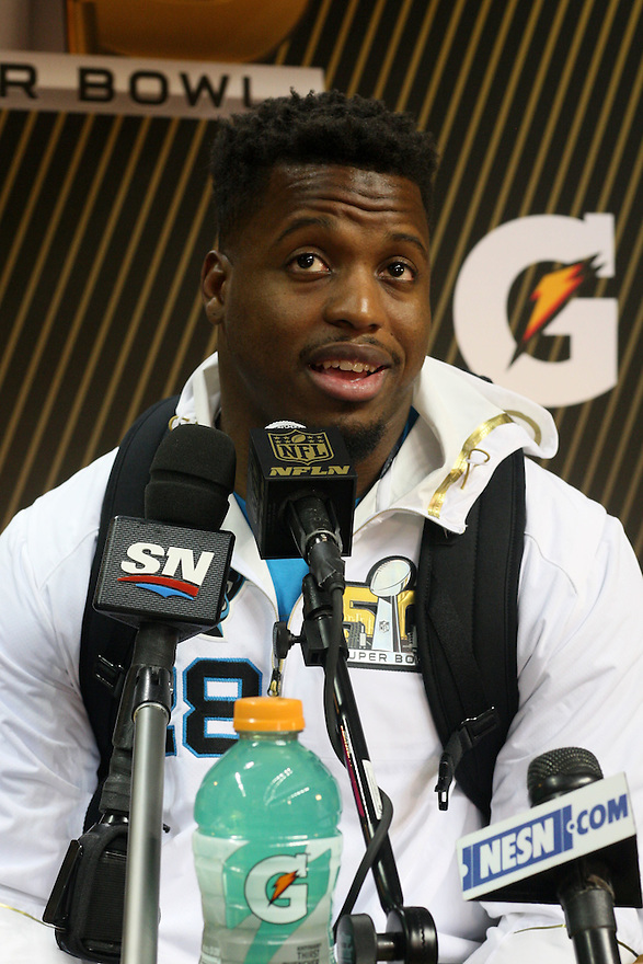 February 01, 2016: Carolina Panthers Running Back Jonathan Stewart (28) being interviewed during Super Bowl 50 Opening Night, introducing the Carolina Panthers to the global media at the SAP Center in San Jose, Ca. (Photo by Rob Holt/ICON Sportswire).