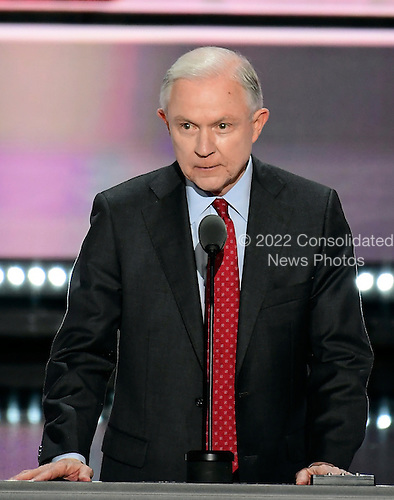 United States Senator Jeff Sessions (Republican of Alabama) places the name of Donald Trump into nomination before the delegates of the 2016 Republican National Convention held at the Quicken Loans Arena in Cleveland, Ohio on Tuesday, July 19, 2016.<br /> Credit: Ron Sachs / CNP<br /> (RESTRICTION: NO New York or New Jersey Newspapers or newspapers within a 75 mile radius of New York City)