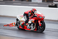 May 5, 2017; Commerce, GA, USA; NHRA pro stock motorcycle rider Hector Arana Jr during qualifying for the Southern Nationals at Atlanta Dragway. Mandatory Credit: Mark J. Rebilas-USA TODAY Sports
