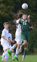 SSOUTH09<br /> Pennridge's Cameron Sheva #10 heads the ball against Central Bucks South in the first half Thursday October 8, 2015 at Central Bucks South in Warrington, Pennsylvania. (William Thomas Cain/For The Inquirer)