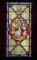 Nativity scene on stained glass window in Victory Lutheran Church. Minneapolis Minnesota USA