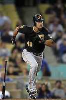 Pittsburgh Pirates outfielder Garrett Jones #46 bats against the Los Angeles Dodgers at Dodger Stadium on September 16, 2011 in Los Angeles,California. Los Angeles defeated Pittsburgh 7-2.(Larry Goren/Four Seam Images)