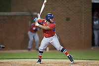 Edgar Badaraco (28) of the NJIT Highlanders at bat against the High Point Panthers at Williard Stadium on February 18, 2017 in High Point, North Carolina. The Highlanders defeated the Panthers 4-2 in game two of a double-header. (Brian Westerholt/Four Seam Images)