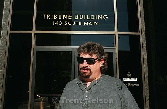 Gordon Harman in front of the Tribune.<br />