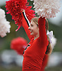 Lizzie Hastings and the Freeport varsity cheerleaders entertain the crowd during a Nassau County Conference I varsity football game between the Red Devils and Oceanside at Freeport High School on Friday, Sept. 21, 2018.
