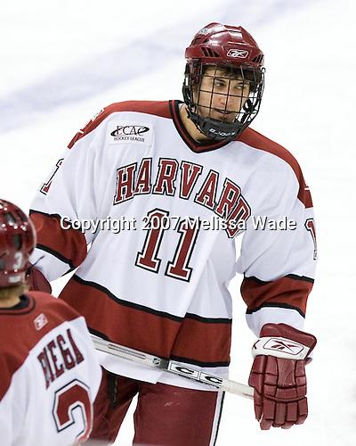 Jon Pelle (Harvard - 11) - The Northeastern University Huskies defeated the Harvard University Crimson 3-1 in the Beanpot consolation game on Monday, February 12, 2007, at TD Banknorth Garden in Boston, Massachusetts.