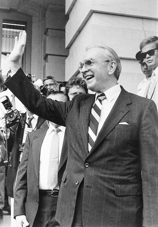 Speaker of the House Rep. James Claude Wright, D-Tex., House of Representatives Member, waving. June 8, 1989 (Photo by Maureen Keating/CQ Roll Call)