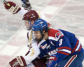 Kevin Hayes (BC - 12), Chad Ruhwedel (UML - 3) - The University of Massachusetts Lowell River Hawks defeated the Boston College Eagles 4-2 (EN) on Tuesday, February 26, 2013, at Kelley Rink in Conte Forum in Chestnut Hill, Massachusetts.