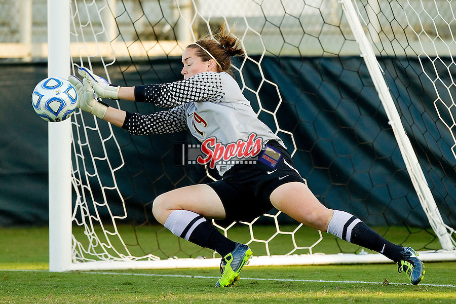 Kelsey Wys #19 of the Florida State Seminoles makes a save against the Wake Forest Demon Deacons to win the 2011 ACC Women's Soccer Championship at WakeMed Soccer Park on November 6, 2011 in Cary, North Carolina.  The Seminoles defeated the Demon Deacons 3-1 in penalty kicks.  (Brian Westerholt / Sports On Film)