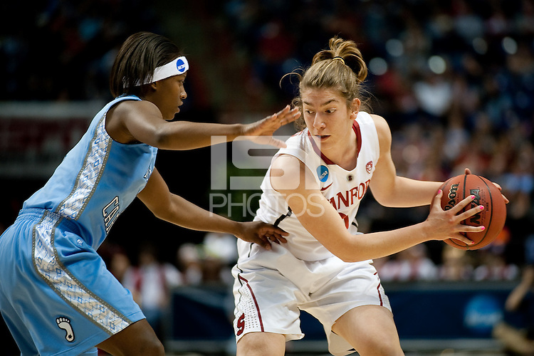 SPOKANE, WA - MARCH 26, 2011: Toni Kokenis, Stanford Women's Basketball vs University of North Carolina, NCAA West Regionals on March 26, 2011.