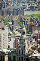 """View of the New York City Municipal Building,  designed by McKim, Mead and White, 1914, seen from One World Trade Center on Monday, April 30, 2012. The statue atop the building is """"Civic Virtue"""" by sculptor Adolph A. Weinman.(© Richard B. Levine)"""