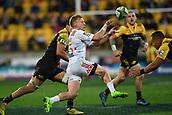 9th June 2017, Westpac Stadium, Wellington, New Zealand; Super Rugby; Hurricanes versus Chiefs;  Chiefs' Damian McKenzie makes a pass