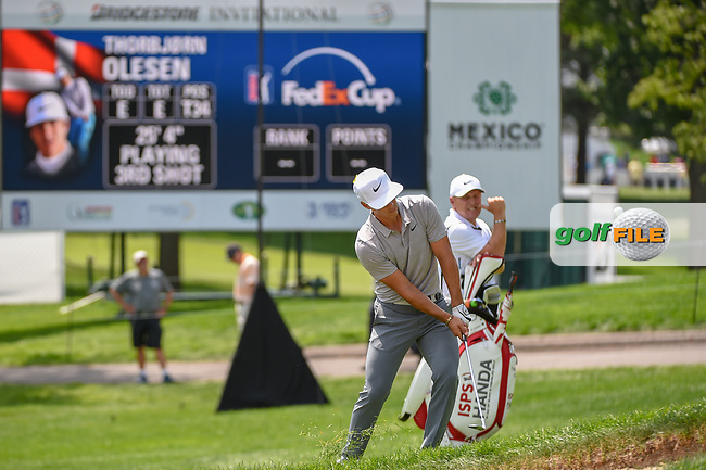 Thorbjorn Olesen (DEN) chips on to 9 during 1st round of the World Golf Championships - Bridgestone Invitational, at the Firestone Country Club, Akron, Ohio. 8/2/2018.<br /> Picture: Golffile | Ken Murray<br /> <br /> <br /> All photo usage must carry mandatory copyright credit (© Golffile | Ken Murray)