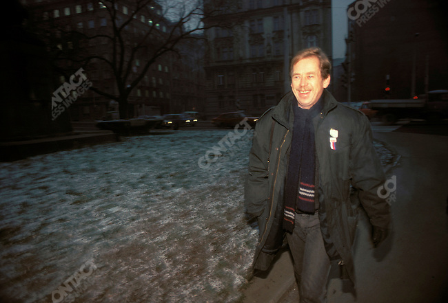 Vaclav Havel at a press conference. Prague, Czechoslovakia, December 1989.
