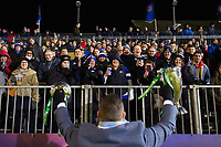 Former Bath Rugby player Mark Regan shows off the Heineken Cup trophy to the crowd at half-time. European Rugby Champions Cup match, between Bath Rugby and the Scarlets on January 12, 2018 at the Recreation Ground in Bath, England. Photo by: Patrick Khachfe / Onside Images