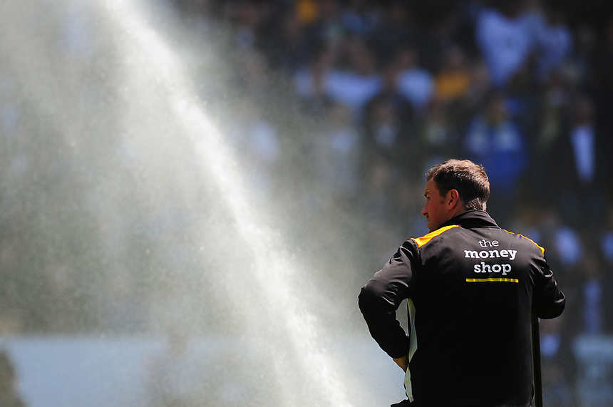 A groundsman oversees the watering of the pitch before kick-off<br /> <br /> Photographer Kevin Barnes/CameraSport<br /> <br /> The EFL Sky Bet Championship - Wolverhampton Wanderers v Preston North End - Sunday 7th May 2017 - Molineux Stadium <br /> <br /> World Copyright &copy; 2017 CameraSport. All rights reserved. 43 Linden Ave. Countesthorpe. Leicester. England. LE8 5PG - Tel: +44 (0) 116 277 4147 - admin@camerasport.com - www.camerasport.com
