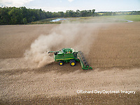 63801-09020 Soybean Harvest, John Deere combine harvesting soybeans - aerial - Marion Co. IL
