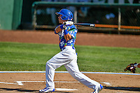 Brandon Montgomery (18) of the Ogden Raptors at bat against the Billings Mustangs in Pioneer League action at Lindquist Field on August 14, 2016 in Ogden, Utah. Ogden defeated Billings 15-9. (Stephen Smith/Four Seam Images)