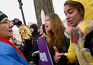 January 23, 2012  (Washington, DC)  Pro-life and pro-choice supporters clash in front of the U.S. Supreme Court building during the annual March For Life and rally in Washington.   (Photo by Don Baxter/Media Images International)