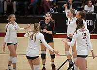 Stanford, CA - November 1, 2019: Kate Formico, Morgan Hentz, Jenna Gray, Meghan McClure, Madeleine Gates, Audriana Fitzmorris at Maples Pavilion. The No. 5 Stanford Cardinal swept the Oregon State Beavers 3-0.