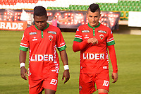 TUNJA -COLOMBIA, 26-08-2017: Carlos MOsquera y Omar Vasquez, jugadores de Patriotas, abandonan el campo de juego después del encuentro entre Patriotas FC y La Equidad  por la fecha 10 de la Liga Águila II 2017 realizado en el estadio La Independencia de Tunja. / Carlos MOsquera and Omar Vasquez, players of Patriotas, leave the field after the match between Patriotas FC and La Equidad  for the date 10 of Aguila League II 2017 played at La Independencia stadium in Tunja. Photo: VizzorImage / Jose Palencia / Cont