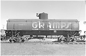 Side view of UTLX 88155 GRAMPS tank car at Alamosa.<br /> D&amp;RGW  Alamosa, CO  Taken by Richardson, Robert W. - 4/20/1952