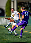 5 October 2019: University of Vermont Catamount Forward Lucas Shaw, a Senior from South Burlington, VT, in action against University at Albany Great Danes, on Virtue Field in Burlington, Vermont. The Catamounts fell to the visiting Danes 3-1 in America East, Division 1 play. Mandatory Credit: Ed Wolfstein Photo *** RAW (NEF) Image File Available ***