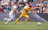 Preston North End's Sean Maguire (right) under pressure from Swansea City's Connor Roberts (left) <br /> <br /> Photographer David Horton/CameraSport<br /> <br /> The EFL Sky Bet Championship - Swansea City v Preston North End - Saturday 17th August 2019 - Liberty Stadium - Swansea<br /> <br /> World Copyright © 2019 CameraSport. All rights reserved. 43 Linden Ave. Countesthorpe. Leicester. England. LE8 5PG - Tel: +44 (0) 116 277 4147 - admin@camerasport.com - www.camerasport.com