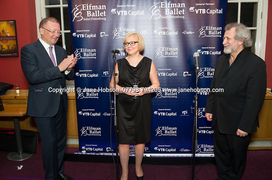London, UK. 15.04.2014. Eifman Ballet after-party on press night for the opening of Rodin, Sky Bar, London Coliseum. Pictured: Boris Eifman (far right). Photograph © Jane Hobson.