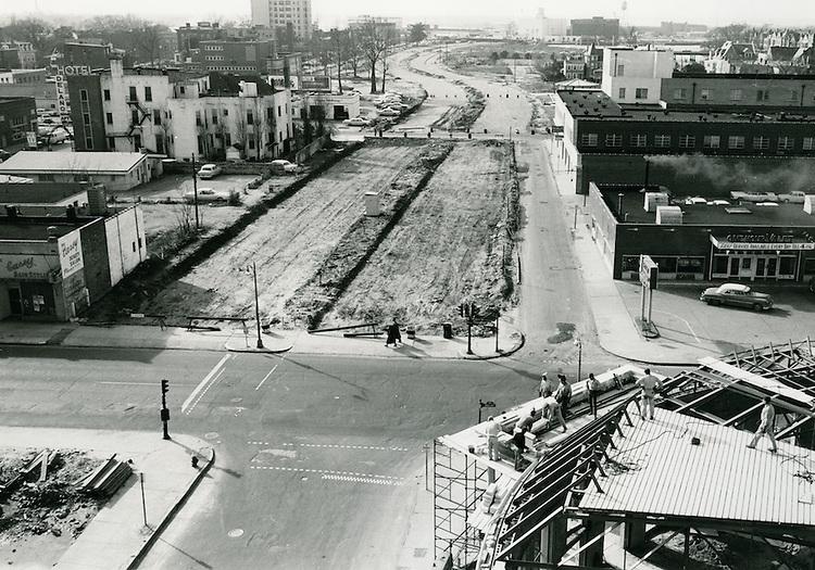 UNDATED..Redevelopment         ..Brambleton Avenue widening under construction.Looking West from Boush Street and Brambleton Avenue...NEG#.960-A..