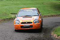 Jock Armstrong / Kirsty Riddick near Junction 10 on the Gleaner Oil & Gas Cooper Park Special Stage 2 of the Gleaner Oil & Gas Speyside Stages Rally 2012, Round 6 of the RAC MSA Scotish Rally Championship which was organised by The 63 Car Club (Elgin) Ltd and based in Elgin on 4.8.12.........