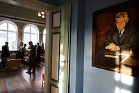 Metur Ottesen who served the longest in the Icelandic Parliament (he is guy in painting) overlooks the halls of power in the Parliament building.  Folks in the chairs are legislators, some who are for the quota, some that want to modify it and one that wants to abolish it.....Contact for Parliament is:  Magnus Thor Mafsteinsson, Member of Parliament, Liberal Party.  Mobile: +354 8645585  office: 563 0500 fax 563 0780  email: magnush@althingi.is..PR person for Parliament is: Solveig K Jonsdottir, email: solveig@althingi.is  office: 563 0500 fax: 563 0690..Address for both is:.Althingi.Parliament of Iceland.IS-150 Reykjavik