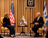 President Shimon Peres of Israel, right, meets with United States Secretary of State Hillary Rodham Clinton at the Presidential Residence in Jerusalem, Israel, on Wednesday, September 15, 2010. .Credit: Department of State via CNP. /MediaPunch