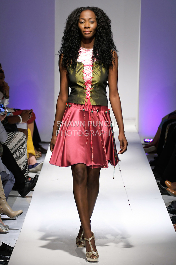 Model walks runway in an outfit from the Eva Cammarata Summer 2013 Arkei  collection, during BK Fashion Weekend Spring Summer 2013, September 28, 2012.