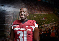 NWA Democrat-Gazette/BEN GOFF &bull; @NWABENGOFF<br /> Scotty Thurman, Junior defensive back from Pine Bluff, poses for a photo on Sunday Aug. 9, 2015 during Arkansas football media day at the Fred W. Smith Football Center in Fayetteville.