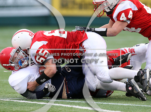 Southwestern Trojans varsity football against the Chenango Forks Blue Devils during the Class-C NYSPHSAA Semifinals at Marina Auto Stadium on November 21, 2009 in Rochester, New York.  Southwestern defeated Chenango Forks 21-0.  (Copyright Mike Janes Photography)