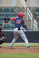 Jackson Cluff (10) of the Hagerstown Suns at bat against the Kannapolis Intimidators at Kannapolis Intimidators Stadium on August 27, 2019 in Kannapolis, North Carolina. The Intimidators defeated the Suns 5-4. (Brian Westerholt/Four Seam Images)